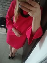 sukienka boho czerwona rozkloszowane rękawy Reserved 34 XS