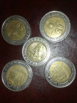 Mandela coins 2x2017, 1x2018 and 2x 2019