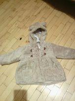 кофта куртка меховая с ушками до года 12м осень на замке плюшевая