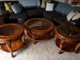 Solid Mahogany two tier lounge table set with etched glass display