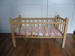 Drewniane łóżeczko dla lalek baby born z pościelą