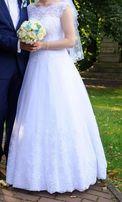 Piękna suknia ślubna, koronkowa, szyta na zamówienie