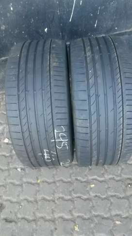 Two seconds hand tyres sizes 295/40/21 continental sport contact5