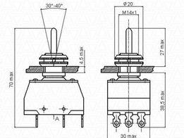 Переключатели разных типов П2Т-1 Тумблеры ПТ2, ПТ3,