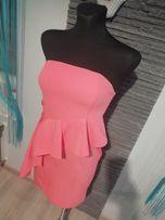 Sukienka hiszpanka falbana falbanką pastelowa pudrowy róż różowa XS S