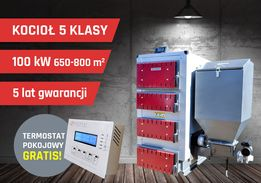 Kocioł 100 kW do 800 m2 5 klasa Ecodesign Gwrancja 5 lat, transport!