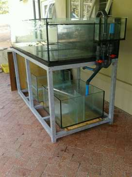 Fish Tanks and Sump Tank with Galvanised Stand