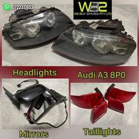 Audi A3 Headlights, Taillights and Mirrors for Sale