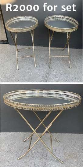 Set of 2 antique mirror side tables