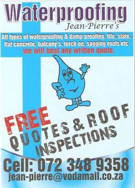 Torch on waterproofing & roof repairs johannesburg Cape Town JHB CT