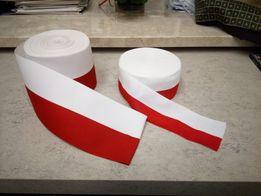 Taśma szarfa biało-czerwona. Szerokość 10 cm.