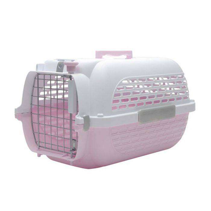 small animal carrier - pink/white Size: L 48.3cm x W 32.6cm x H 28cm