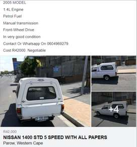 NISSAN 1400 BAKKIE 2005 MODEL WITH ALL PAPERS