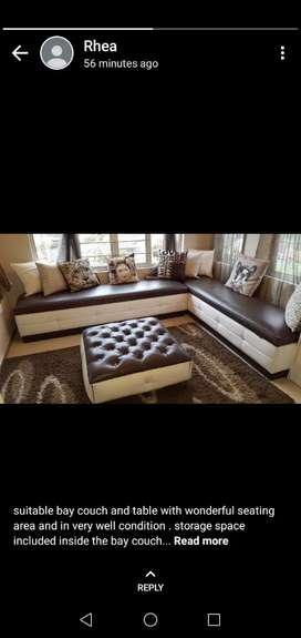Leather couch with storage space