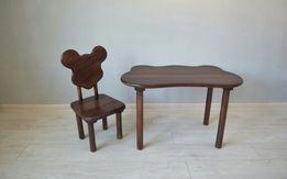 Детский столик и стульчик с натурального дерева, стол и стул