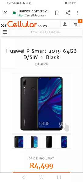 2019 P Smart Black with 64 gig, dual sim,