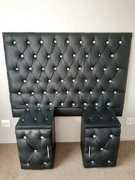 Queen Headboard + 2 Pedestals for Sale