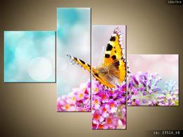 Motyl na kwiatkach, Canvas, Obraz na płótnie, TRYPTYK, prezent