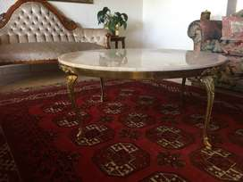 Antique Italian Brass and Marble Round Coffee Table