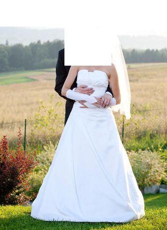 Suknia ślubna biała 36/38 +welon+buty+kamizelka+krawat Kraków - image 2