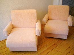 Кресла б/у в идеальном состоянии, 2 шт., флок, персиковые