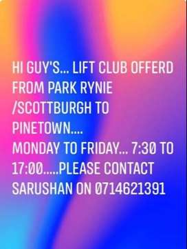 Lift club offerd from Park Rynie, Scottburgh and UK to Pinetown daily