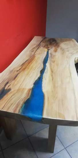 Small River table with inlaid blue resin and European Oak legs