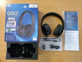 In Box, Like New  Playstation 4 Gold Wireless Headphones for Sale...