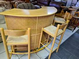 Cane Bar unit with 3 x chairs