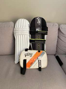 Youths batting pads and thigh pad (left handed)