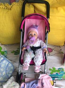 Baby doll with pram