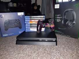 Ps4 slim 500GB with games, controllers and a headset