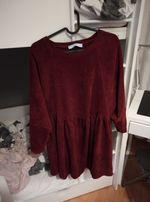 Sukienka sztruksowa bordo one size oversize lila lou