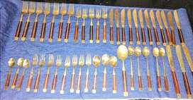 Brass and rosewood cutlery (Jean - Claude, Thailand) 47 pc for R400