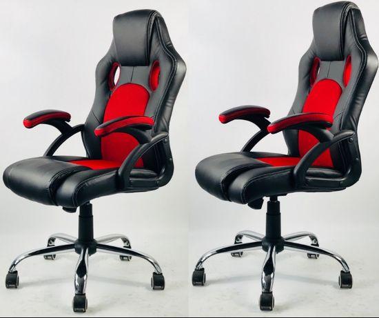 Fotel biurowy sportowy czarny czerwony szary dom dla gracza Łódź - image 2