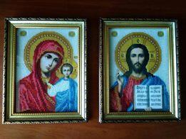 Иконы из бисера. Картины из бисера. Венчальные иконы чешским бисером.
