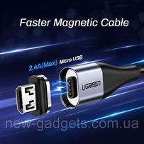 Ugreen Magnetic USB Cable кабель магнитный Micro USB 1 метр в оплетке