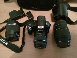 Aparat fotograficzny Sony Alfa SLT-A55V + obiektywy + ladowarka