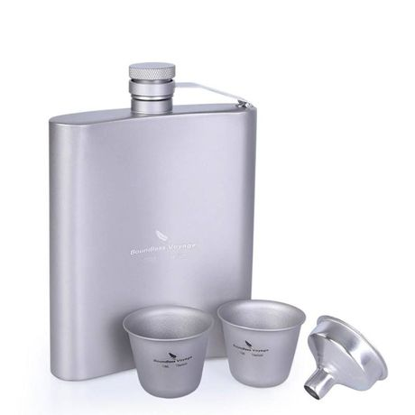 Титановая фляга 200 мл. Титанова, бутилка, бутылка для алкоголя, рюмка