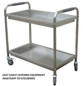 2 TRAY STAINLESS STEEL DISH CLEARING TROLLEY R2700