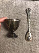 Серебряная ложка с рюмкой