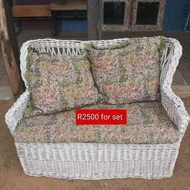 2x2 seater and 2x1 seater cane patio set