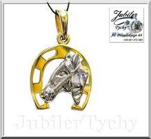Złota podkowa na szczęście z głową konia + białe złoto Jubiler Tychy