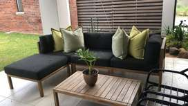 Sutherlands patio furniture set and table