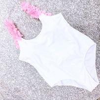 Strój Kąpielowy Jednoczęściowy 38 M Biały Kwiatki Hawaii Monokini