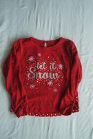 Świąteczna Bluzka dla dziewczynki roz. 122 ŚWIĘTA