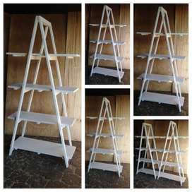 Trestle shelving Single A Frame 4 tier 2000 - White stained