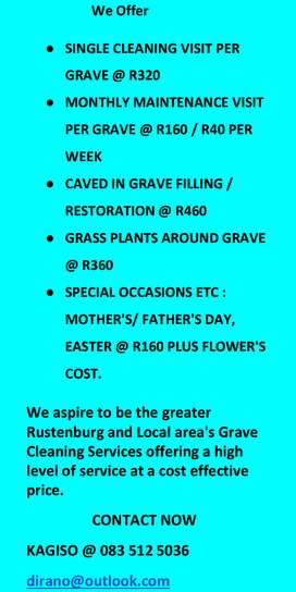 Grave Site Cleaning and Tombstones Cleaning services