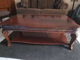 2 seater and 3seater couch with pillows and wooden table set