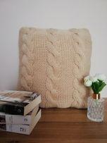 poduszka + poszewka dziergana handmade warkocz beż/piaskowy/róż